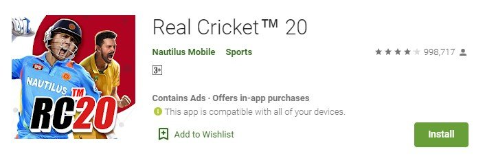 Real Cricket 20 for mac