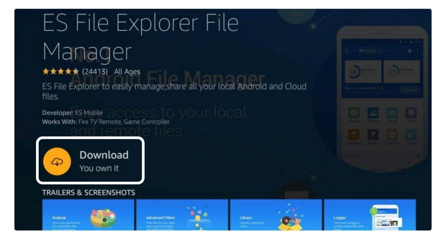 ES File Explorer will be open. Search the downloader icon