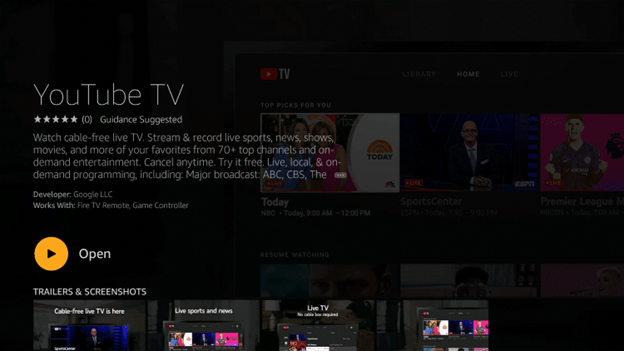 On your home page of Firestick, hover to the Youtube TV application and hold the Options menu